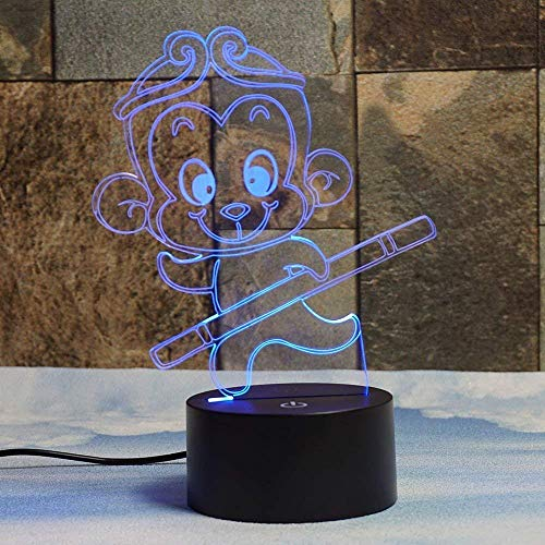 Creative 3D Monkey Night Light 7 Colors Changing USB Power Touch Switch Decor Lamp Optical Illusion Lamp LED Table Desk Lamp Children Kids Brithday Christmas Gift