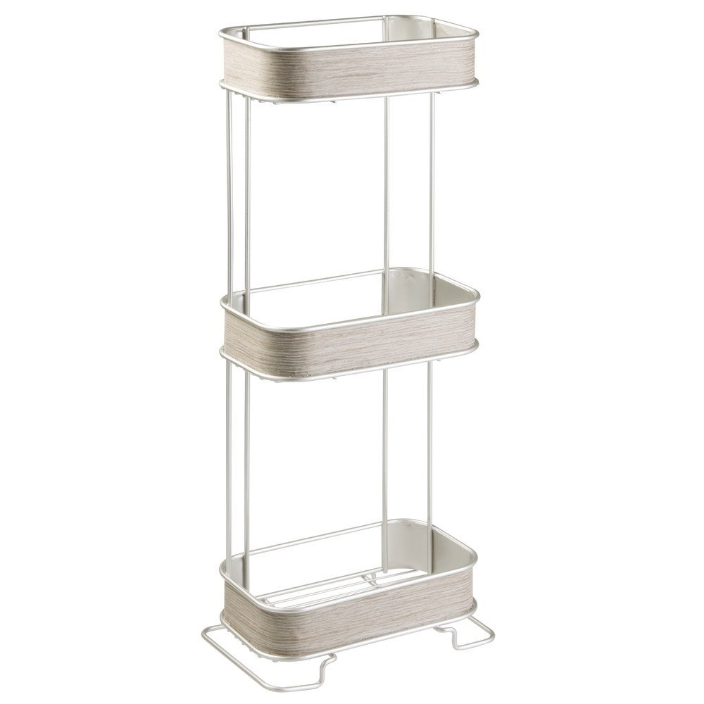 InterDesign RealWood Free Standing Bathroom Storage Shelves for Towels, Soap, Tissues, Lotion, Accessories - 3 Tiers, Satin/Gray Wood Finish
