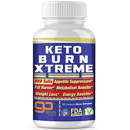 Keto Pills Advanced Xtreme Weight Loss 800 mg Pure BHB Salts Exogenous Ketones Fast Fat Burner Ketosis Boost Supplement Extreme Burn Appetite suppressant Women & Men Capsules + Free Keto Snacks ebook