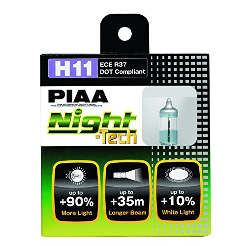 PIAA 10711 H11 Night Tech High Performance Halogen Bulb, (Pack of 2)