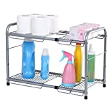 SONGMICS 2-Tier Expandable Under Sink Storage Shelf Kitchen Bathroom Organizer Silver UKSS01G