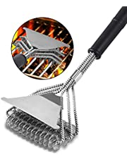 """Yasmine Grill Brush with Scraper - Bristle Free 18"""" for Porcelain Grates Outdoor Stainless Steel Grill Cleaner Tool - BBQ Safe Scraper Barbeque Cleaning Accessories (Silver)"""