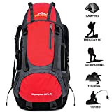 55L Outdoor Backpack Waterproof Hiking Lightweight Large Capacity for Sport Camping Fishing Climbing Sport Bag Mountaineering Cycling Skiing Adjustable Shoulder Couple Bag (Red) Review