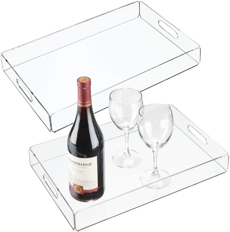 mDesign Modern Acrylic Rectangular Serving Tray with Built-In Handles for Food, Tea, Coffee, Breakfast, Snacks, Cheese, Appetizers - Use in Kitchen, Bathroom, Office - Large, 2 Pack - Clear