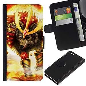 NEECELL GIFT forCITY // Billetera de cuero Caso Cubierta de protección Carcasa / Leather Wallet Case for Apple Iphone 6 // Lobo Soldado