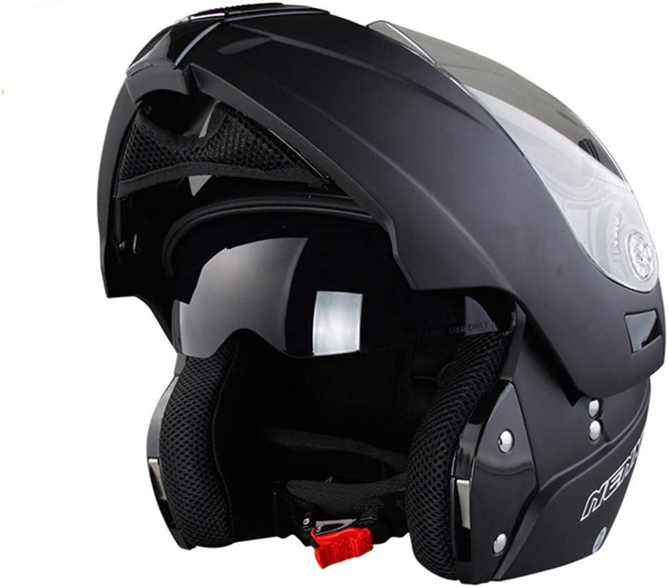 Carreras de Motos Off Road Flip Up Casco para Motocicleta con Visera Interior Moto Casco Negro