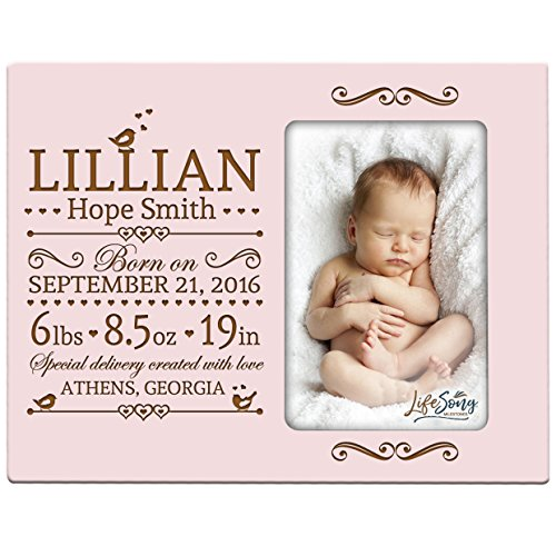 LifeSong Milestones Personalized New Baby Birth Announcement Picture Frame for Newborn Boys and Girls Custom Engraved Photo Frame for New mom and dad Parents and Grandparents (Pink)