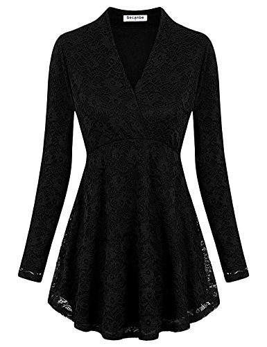 Becanbe Sheer Casual Shirts For Women, Cross V Neck Long Sleeve Floral Lace Workout Stretch Knit Basic Comfy Swing Tunic Tops(Black Lace,Large) Sheer Nylon Stretch Lace Top