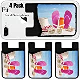Liili Phone Card holder sleeve/wallet for iPhone Samsung Android and all smartphones with removable microfiber screen cleaner Silicone card Caddy(4 Pack) Beach items with straw hat towel flip flops s