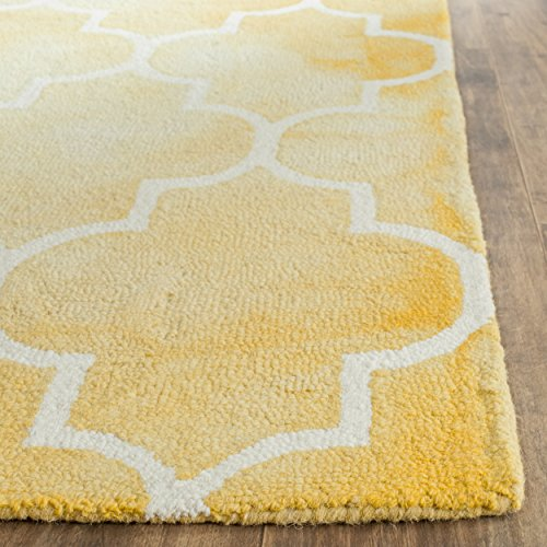 Ivory Gold Area Rugs (Safavieh Dip Dye Collection DDY535H Handmade Moroccan Watercolor Gold and Ivory Wool Area Rug (3' x 5'))