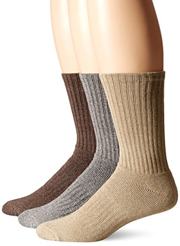 Dockers Men's 3 Pack Enhanced and Soft Feel Cushion Crew Socks, Khaki Assorted, Shoe Size: 6-12 Size: 10-13