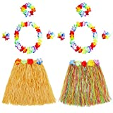 BESTOYARD Hawaii Tropical Hula Grass Dance Skirt Flower Bracelets Headband Necklace Set 2 Sets (Colorful Skirt and Straw Color Skirt)