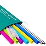 Silicone Straws for 30 oz Tumbler Complete Bundle - 6 Straight Reusable Silicone Straws for Yeti / Rtic / Ozark - Stainless Steel Straws + Brushes + Pouch - Metal Straws Extra Long Included