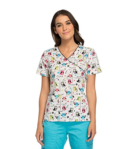 Cherokee Women's Mock Wrap Owl Print Scrub Top Large Print