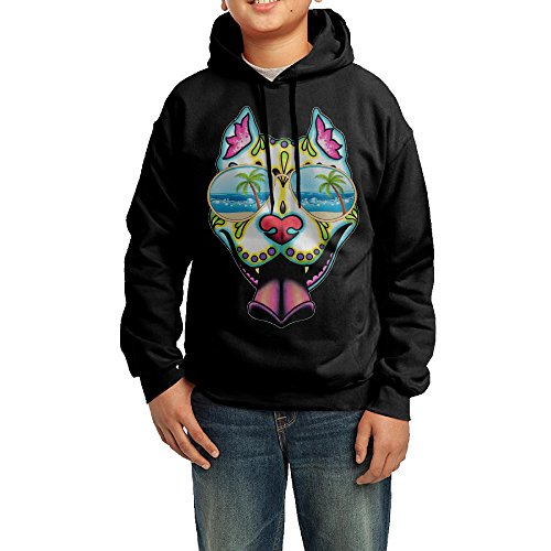 Pit Bull Sugar Skull With Sunglass Hoodie Youth Pullover Hooded Sweatshirt L