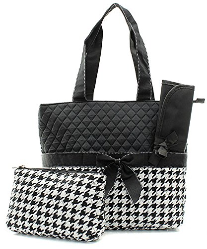 Monogram Ready Quilted Houndstooth Print 3pc Diaper Bag Set