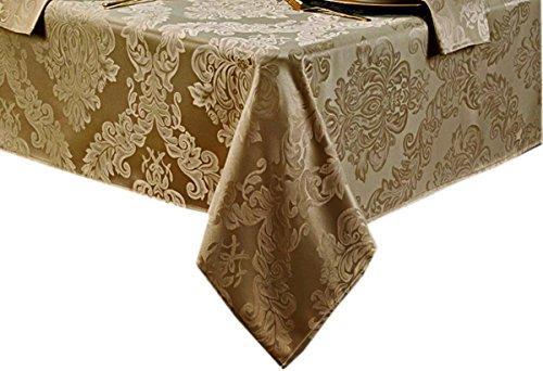 Barcelona No-Iron Soil Resistant Fabric Damask Tablecloth - 60 X 144 Oblong - Golden (60