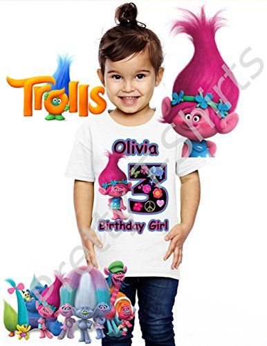 Trolls Birthday Shirt, ADD any name & any age, Birthday Girl Shirt, FAMILY Matching Shirts, Girl Trolls, TROLLS shirts, Girl Shirts, Girl's Birthday Party, VISIT OUR SHOP!!