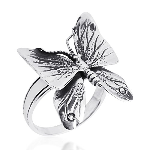 AeraVida Moveable Fluttering Wings Butterfly .925 Sterling Silver Ring (7)