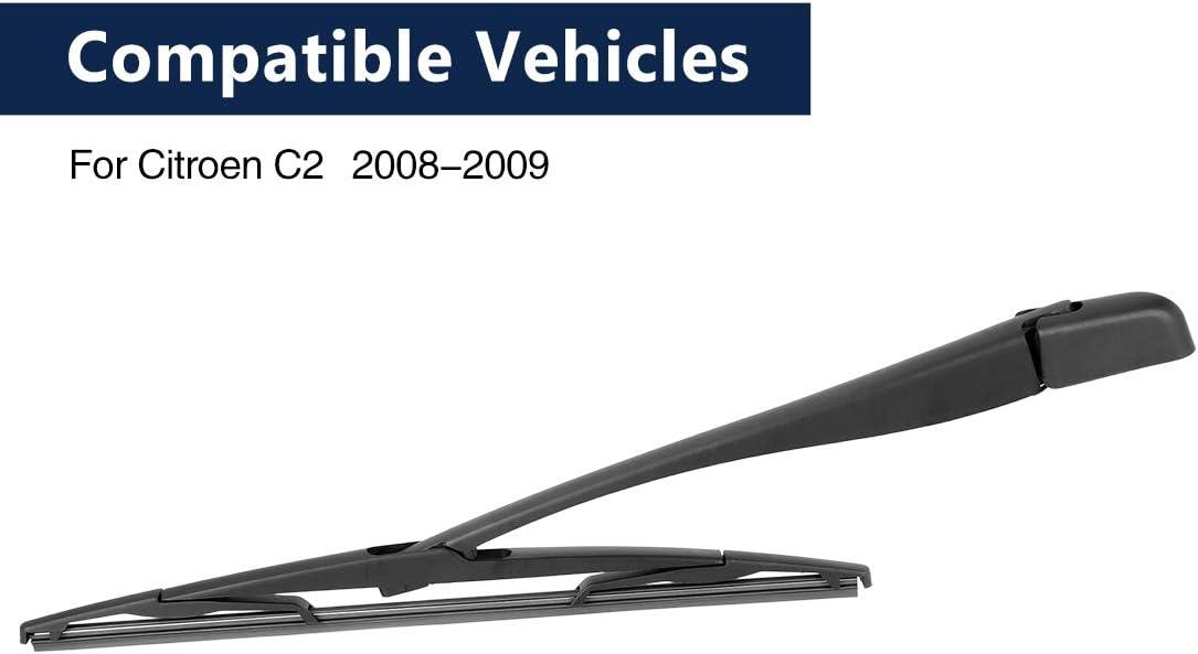 X AUTOHAUX 370mm 15 Car Rear Windshield Wiper Blade Arm Set for Citroen C2 08-09