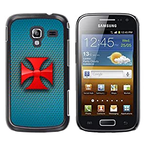 MOBMART Carcasa Funda Case Cover Armor Shell PARA Samsung Galaxy Ace 2 - Red Crossed Siren Loudspeakers