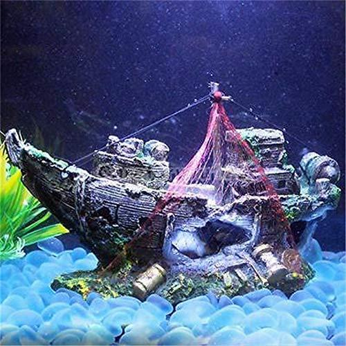Wall of Dragon Resin Wreck Sailing Boat Sunk Ship Destroyer Cave Fish Tank Decor Ornament Landscaping Aquarium Decoration Resin Sailing