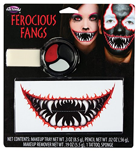 Fun World Unisex-Adult's Ferocious Fangs Makeup Kit Costume Accessory, Multi, Standard -