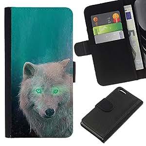 KingStore / Leather Etui en cuir / Apple Iphone 5C / White Wolf Eyes extranjero verde bosque mágico