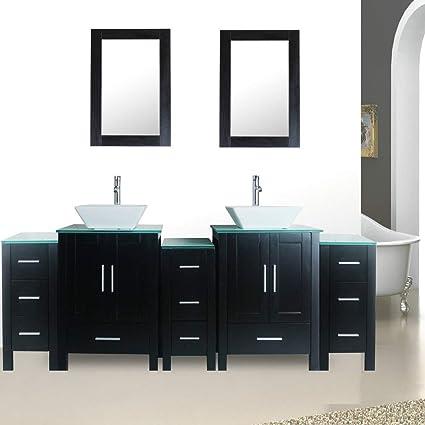 82 Black Bathroom Vanity Units Double Sink Glass Top Painted Mdf