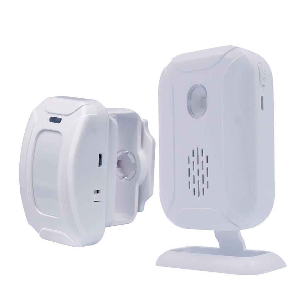 Wireless PIR Motion Sensor Detector Security Alarm Chime, Shop Store Office  Home Front Door Entry Welcome Doorbell, Mailbox Alert, Garage Driveway