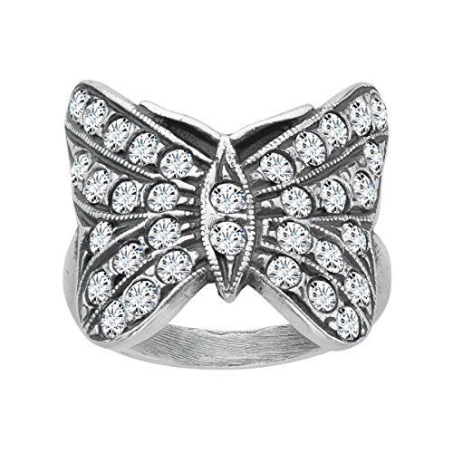 Van Kempen Art Nouveau Butterfly Ring with Swarovski Crystals in Sterling Silver Size 6 (Swarovski Butterfly Ring)