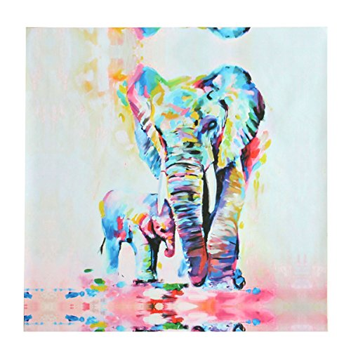 PATHONOR Healthy Elephant Oil Painting Canvas Wall Abstract Art for Home Office Decor/Children Room 50x50cm by PATHONOR