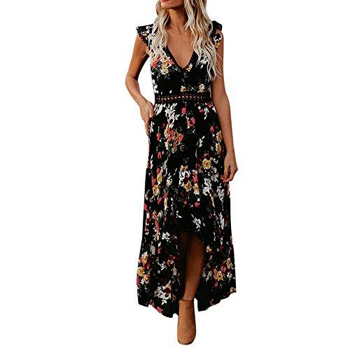 Allywit- Women Summer Flower Deep V Neck Sexy Backless Maxi Boho Dress Asymmertrical Lace Dress Black