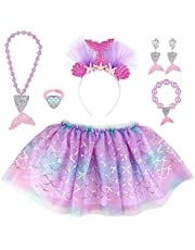 Hifot Mermaid Tutu Skirt with Hairband Outfit, Girl Princess Dress up Necklace Bracelet Earrings Ring Jewelry Ballet Dance Skirted Gift Set Party Favors