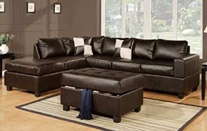 Furniture2go F7351 Espresso Bonded Leather Match Sectional Sofa + Ottoman    Reversible Left/Right Chaise