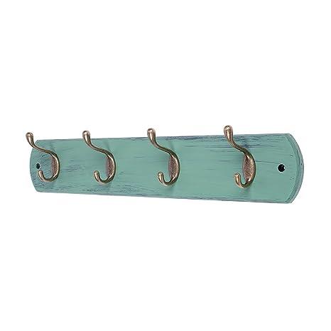 DOKEHOM 4-Ganchos de Bronce Antiguo Percheros de Pared (4 y 6 Ganchos) para Abrigos sobre Tabla de Madera Perchero Percha (Mediterráneo Azul)