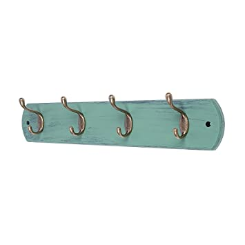 DOKEHOM 4-Antique Brass Hooks -(Available 4 and 6 Hooks)- on Natural Pine Wooden Coat Rack Hanger, Mail Box Packing (Mediterranean Blue)