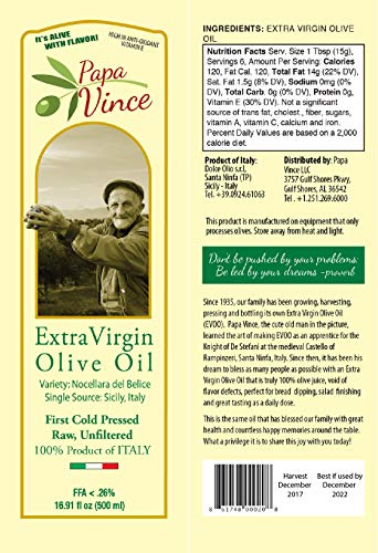 Papa Vince Olive Oil Extra Virgin, First Cold Pressed Family Harvest, Sicily, Italy | NO PESTICIDES, NO GMO | Unblended, Unfiltered, Unrefined, Rich in Antioxidants, subtle Peppery Finish | 16.9 fl oz