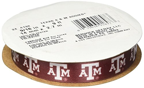 "Offray Texas A&M University Aggies Fabric, 9/16"" X 9FT Ribbon"