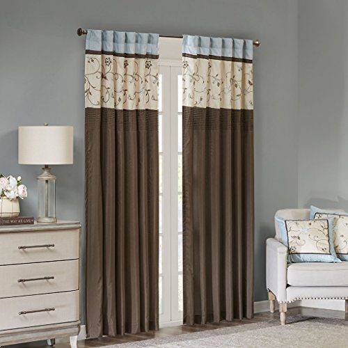 Madison Park Serene Blackout Embroidered Room-Darkening Window Treatment Curtains 1 Panel with Rod Pocket/Back Tab Drapes for Bedroom and Dorm, 50x84, Blue ()