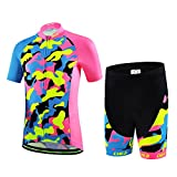 LSERVER Children Unisex Boys' Girls' Cycling Jersey Set (Short Sleeve + 3D Padded Shorts)