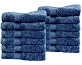 Cotton & Calm Exquisitely Fluffy Washcloths/Face Cloths Towel Set (12 pk, 13'' x 13''), Premium Blue Washcloths - Super Soft, Thick, and Absorbent for Face, Hand, Spa & Gym