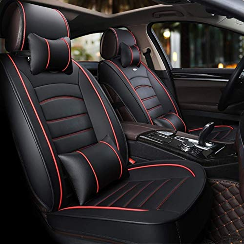 Car seat covers, universal set with 5 leather seats for front and back, breathable with cushions (color: black):
