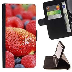Jordan Colourful Shop - Fruit Macro Strawberry Blueberry For LG OPTIMUS L90 - < Leather Case Absorci????n cubierta de la caja de alto impacto > -