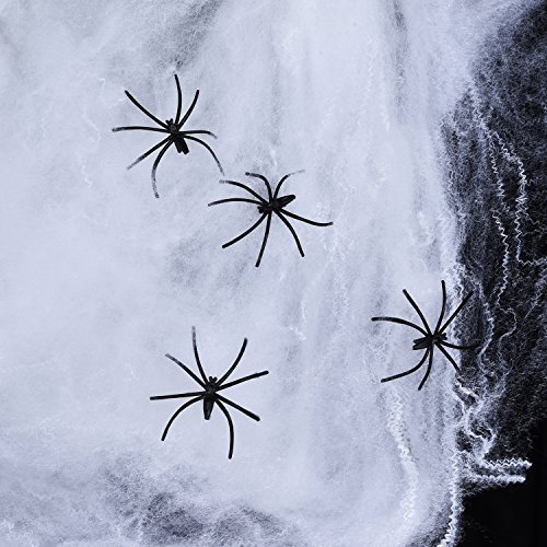 Sumind 120 g Spider Cobwebs White Halloween Decoration Spider Webs with 12 Pieces Halloween Black Spiders for Halloween Party Costume Decorations, Party Favour (Decorative Spiders)