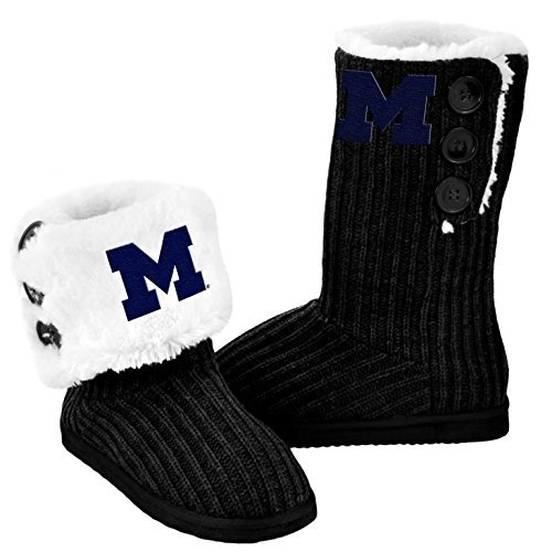 NCAA College Ladies Knit High End Button Boot Slippers - Black (Michigan Wolverines, ()