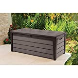 Keter Brushwood 120 Gal. Resin Patio or Pool Deck Box, Brown (227329)