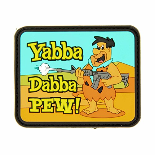 Yabba Dabba Pew Flintstones PVC Morale Patch - Hook Backed with Loop Piece by NEO Tactical (Best Neo Tactical Gear Baby Gears)