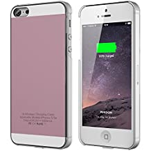 iPhone 5 5S SE Wireless Receiver Case, iPhone 5 5s SE Qi Wireless Charging Case Back Cover Flexible Lightning Connector [1A Upgrade], Rose Gold