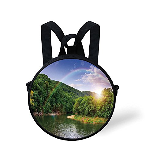 - iPrint Toddler Preschool Backpack,Nature,Summer Scene Mountain Valley Rainbow Over The Lake Sunny Day Image,Hunter Green Blue Little Boys Girls